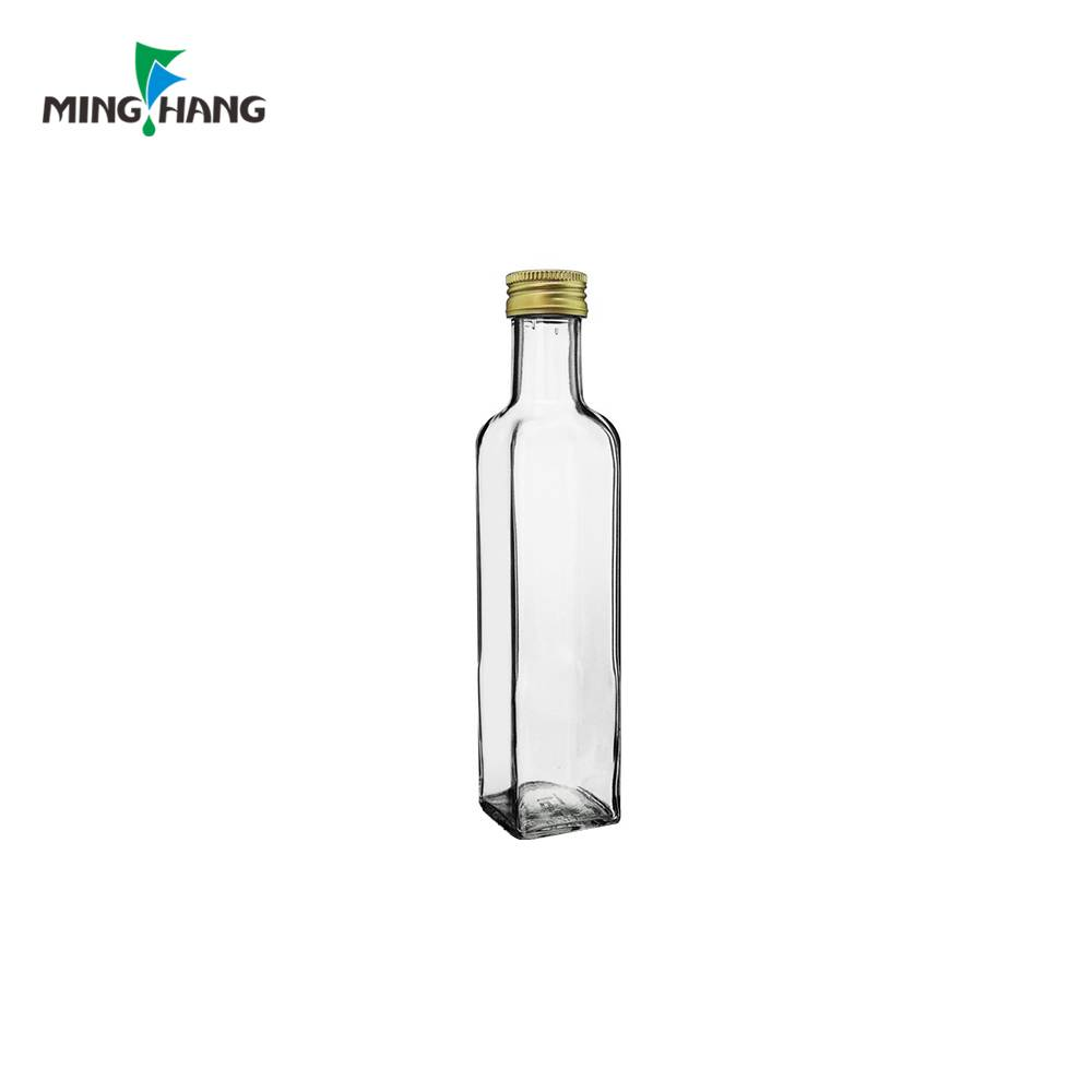250ML Recycled Dark Green Clear Color Marasca Square Glass Bottle Olive Oil Bottle With Screw Cap