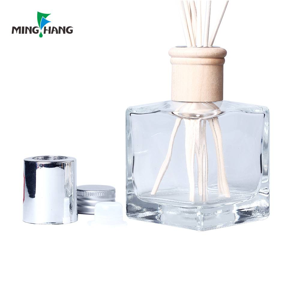 Empty Clear Square Shape Room Fragrance Perfume Glass Reed Diffuser Bottle