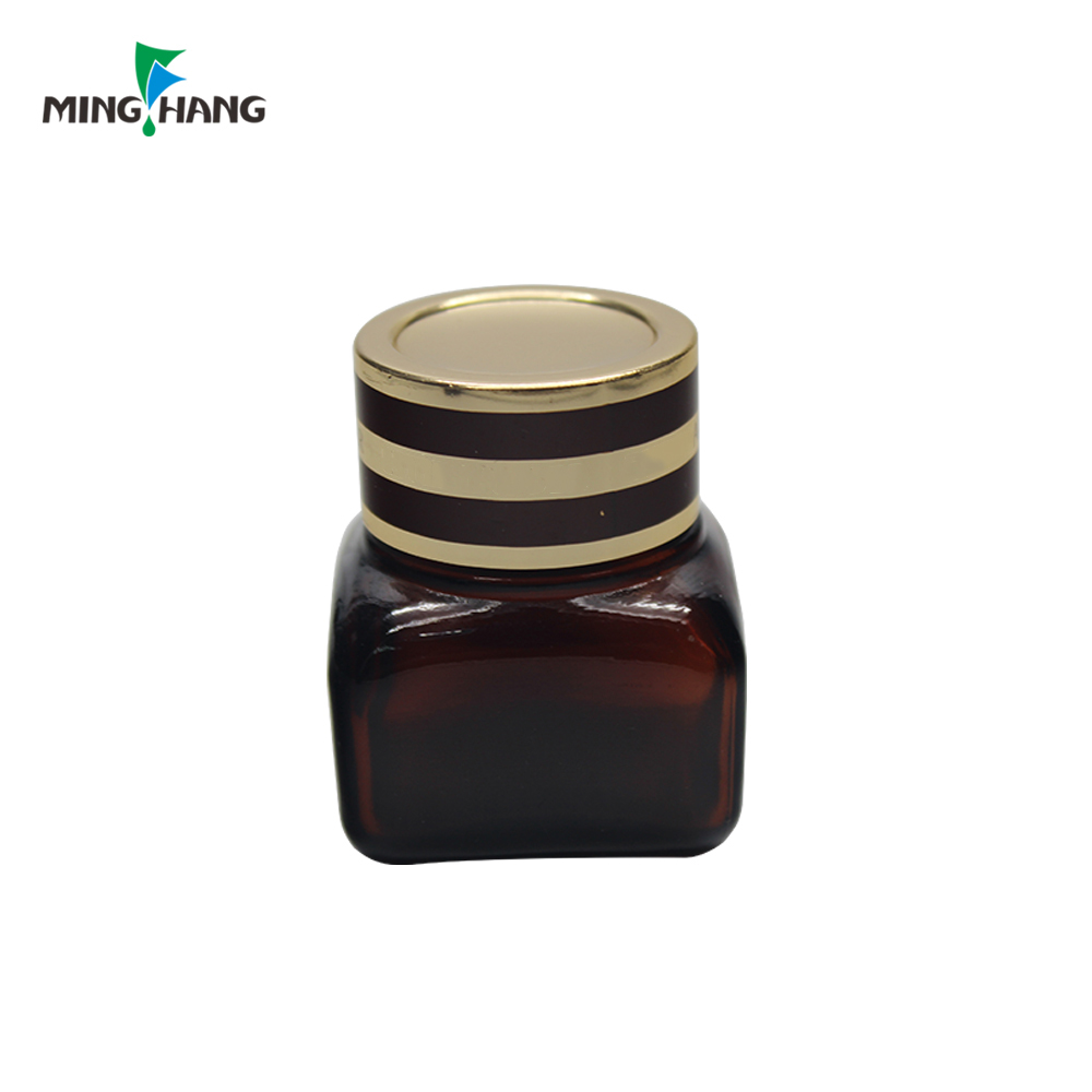 Wholesale 15ml Square Glass Amber Cosmetic Jar Makeup Container Glass With Aluminum Cap