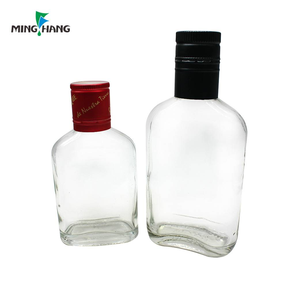350ml high quality flat glass wine bottle 200ml vodka glass bottle for sale