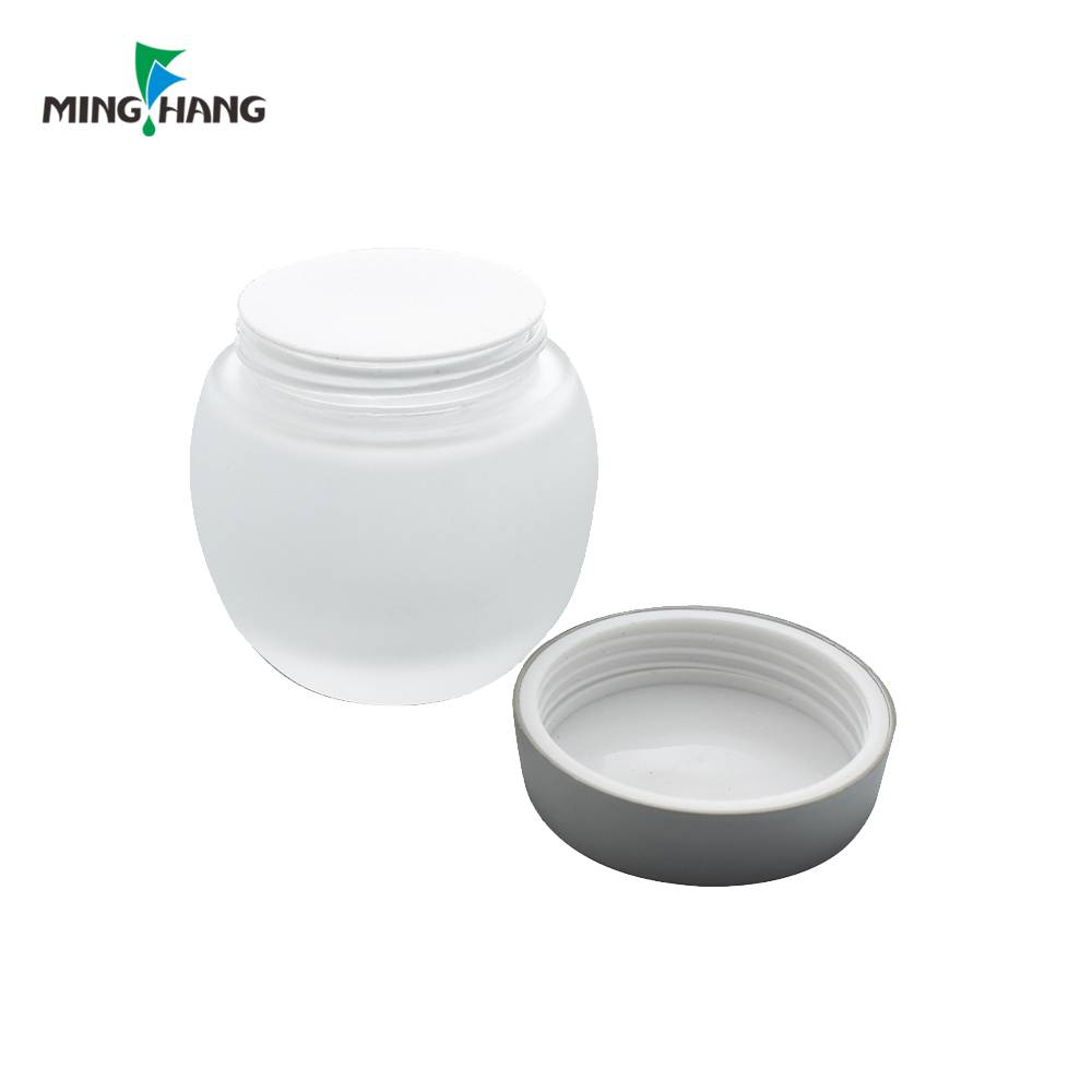 hot selling frosted cream glass jar glass skincare cosmetic cream jar with aluminum cap