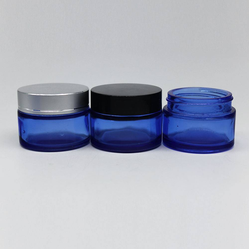 empty cobalt blue cosmetic jar 30ml glass cream bottle with silver cap
