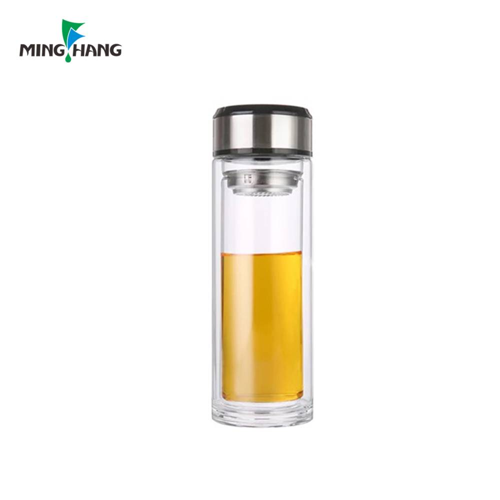 500ml High Borosilicate Glass Bottle Water Drinking Tea Double Wall Bottle Glass