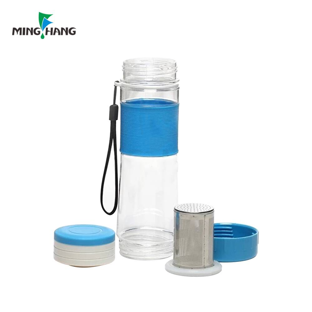 Custom Portable Real Borosilicate Glass Water Tea Bottle with stainless steel lid