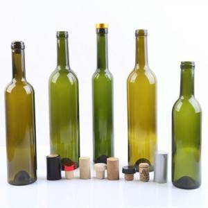 750ml red wine glass bottle with cork