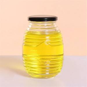 Clear food jar glass 180 ml with metal lid