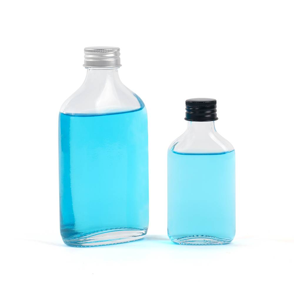 200ml flat shaped glass bottle with screw cap