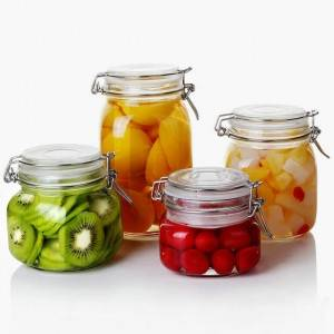 Glass food canning jar with glass lid