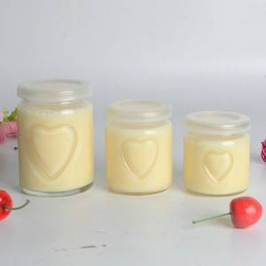 100ml 150ml 250ml glass pudding jar with plastic lid