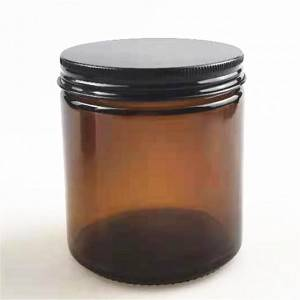 wholesale 100 ml amber glass candle jar with sliver lid