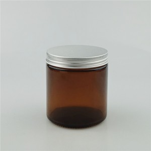 100ml 200ml 500ml amber glass jar with silver aluminium cap