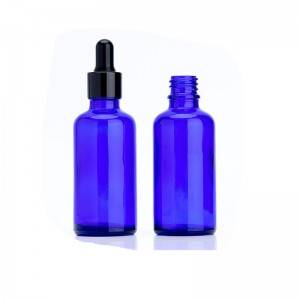 50ml empty blue essential oil glass dropper bottle