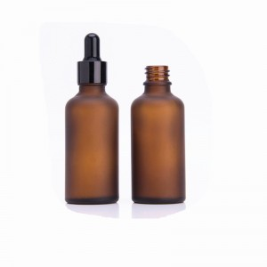50ml frosted amber essential oil dropper glass bottle