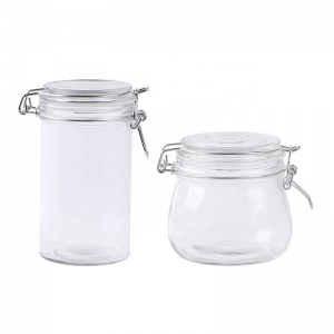 Wholesale Clear Glass Storage Jar With Flip Top Cap