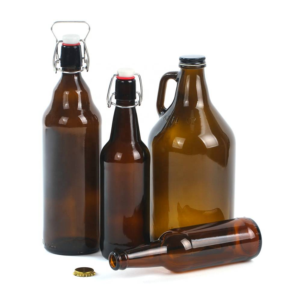 Amber beer swing top growler glass bottles