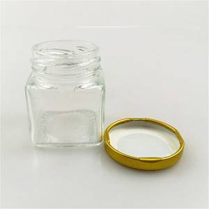 50ml empty glass food jar square shape with metal lid