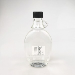 250ml flat vermont glass maple syrup bottle with screw cap