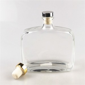 330ml flat shape glass liquor bottles with cork lid