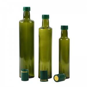 500ml round square dark green marasca glass olive oil bottle