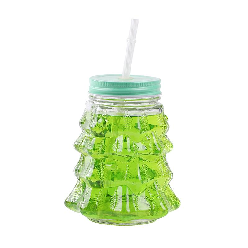 Christmas glass mason jar for drinking