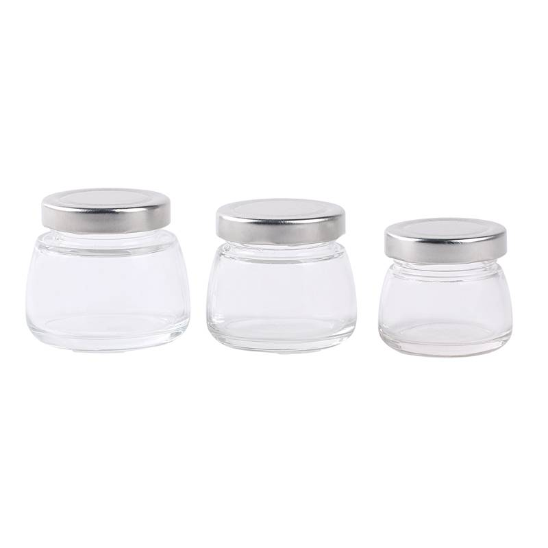 75ml 120ml 150ml transparent food glass jam jar with metal lid