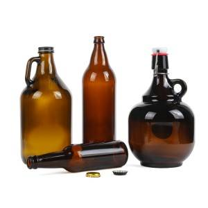 Swing top 2l amber beer growler glass bottle