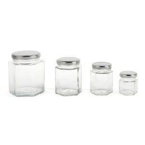 450ml hexagon honey glass jar storage