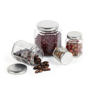 Wholesale empty food storage glass jar with metal lid