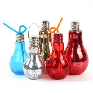 400 ml colorful drinking light bulb shaped glass water bottle