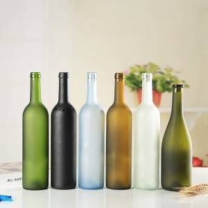 wholesale 750 ml frosted empty glass red wine bottles