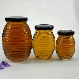 wholesale glass honey bee storage jar with cap
