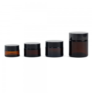 20ml 30ml 50ml 100ml amber glass cosmetic jar with lid