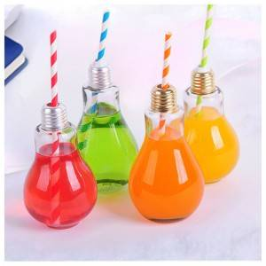 Bulb shaped beverage juice glass bottle 100ml 250ml 400ml
