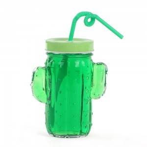 16oz cactus glass mason jar for ice cold drinking