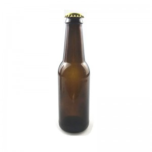 250ml amber beer glass bottle with crown cap