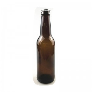 330ml amber beer glass bottle with crown cap