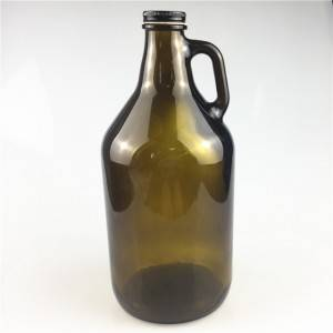 Amber 64oz beer growler glass bottle