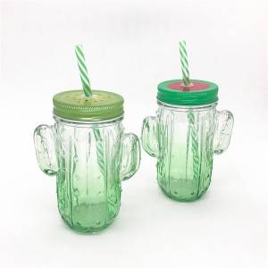 cactus shaped drinking mason jar containers
