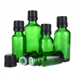 Green Glass Essential Oil Bottle with Dropper Cap