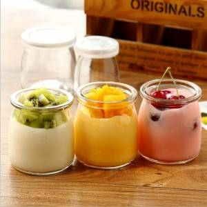 Glass milk pudding bottle with plastic cap 100ml 200ml