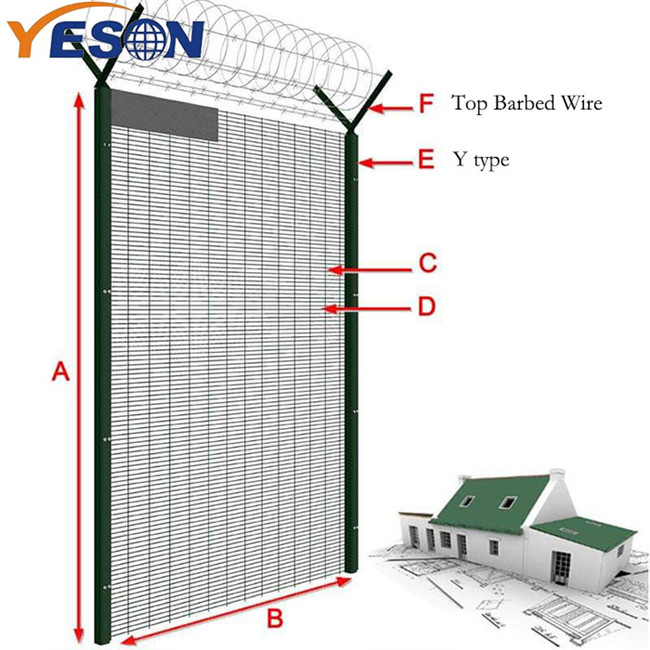 Cheap PriceList for High Density 358 Fence - 358 fence top barbed wire – Yeson