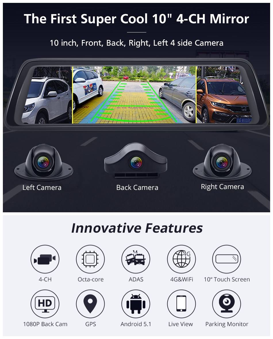 10 inch streaming mideacar camera