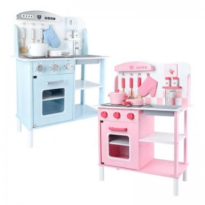 Pink and Blue Wooden Kitchen Role Play Toy Set for Kids Kitchen Mini Simulation Cooking Pretend Play Set for Sale
