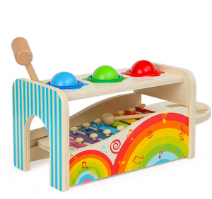 High Quality Wooden Learning Musical Pounding Toy for Toddlers Hand-Eye Coordination Exercise Wood Toys Hammering Toy