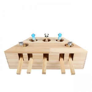 Wood Cat Hit Gophers Toys Interactive Wooden Whack A Mole Mouse Game Puzzle Toy 5 Holes Mouse Hole Cat Scratch Educational Toy