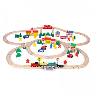 Wholesale Kids Educational Toys 100pcs Wooden Building Blocks Track Toy Car Racing Set Toy Game for Promotion