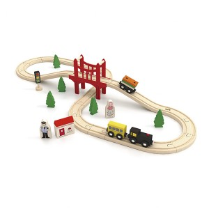Wooden Toy Train Track Set 37 Piece Puzzles Kids Educational Building Blocks