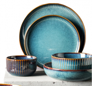 Wholesale Blue Round Moroccan Ceramic Dinnerware Set Dinner Plate Bowl