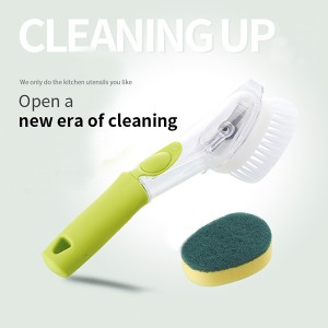Wholesale Kitchen Dish Wash Cleaning Brush With Soap Dispensing Sponge Removable Head