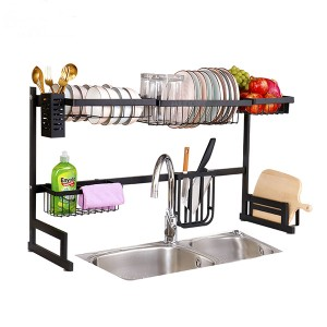 Wholesale Kitchen Storage Drying Holder Metal Stand Plate Shelf Rack Two Tiers Dish Drainer